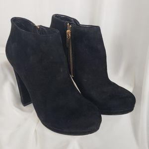 Michael Kors Black Suede Zip Platform Heel Boot